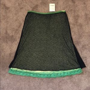 Free People Lace Trim Midi Skirt